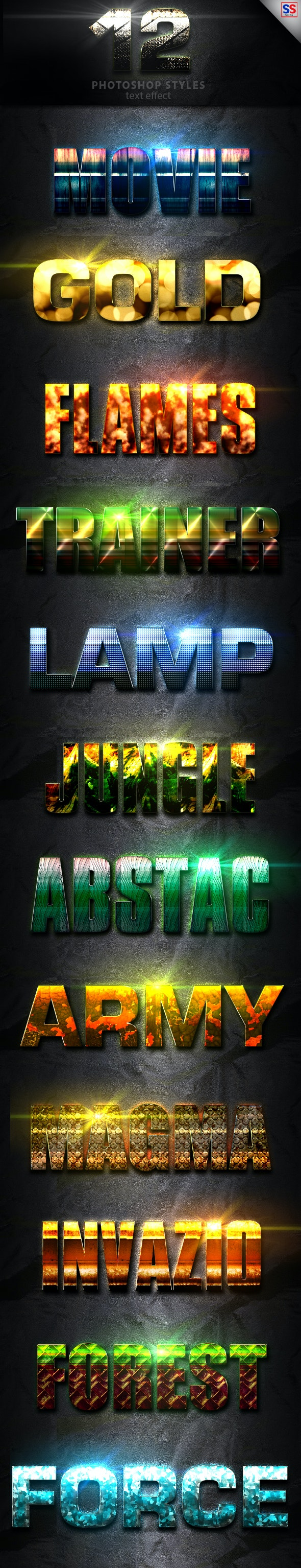 12 Light Photoshop text Effect vol 11 - Text Effects Styles