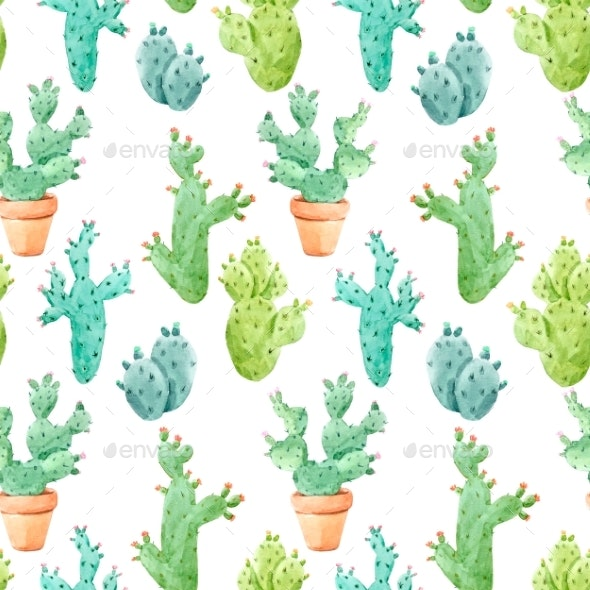 Watercolor Cactus Pattern - Patterns Backgrounds