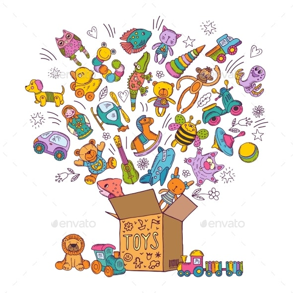 Childrens Box of Toys Doodle Pictures - Man-made Objects Objects