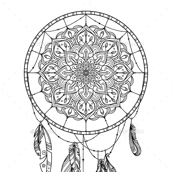 Hand Drawn Dreamcatcher with Feather of Birds