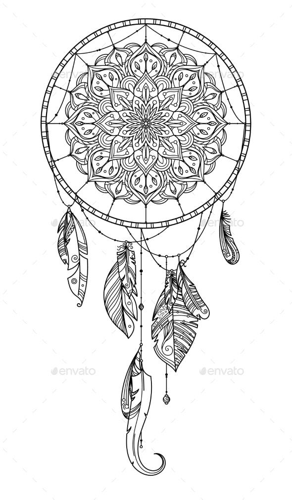 Hand Drawn Dreamcatcher with Feather of Birds - Decorative Symbols Decorative