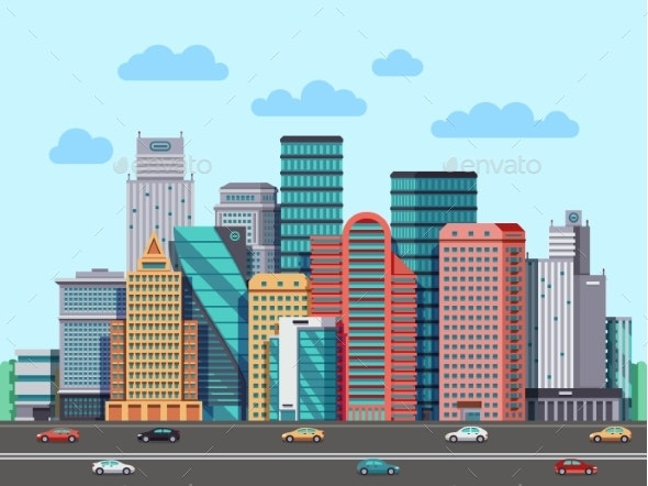 City Buildings Panorama Urban Architecture Vector - Buildings Objects