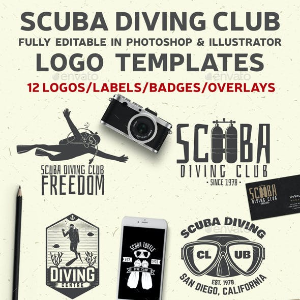 Set of Scuba Diving Clubs Badges