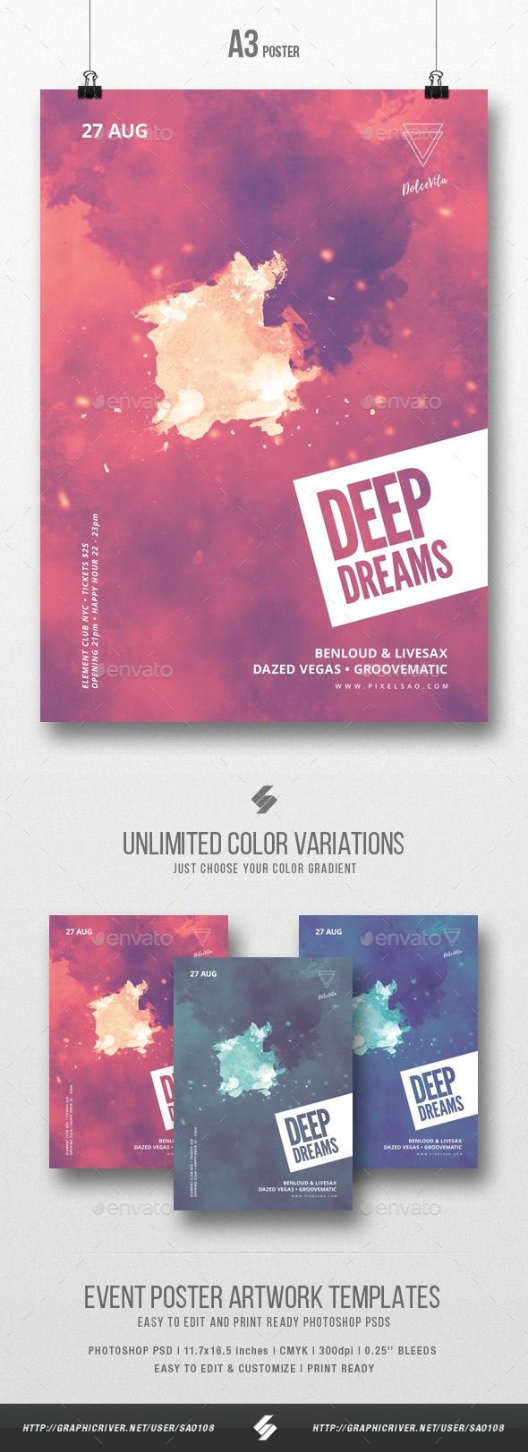 Deep Dreams - Minimal Party Flyer / Poster Template A3 - Clubs & Parties Events