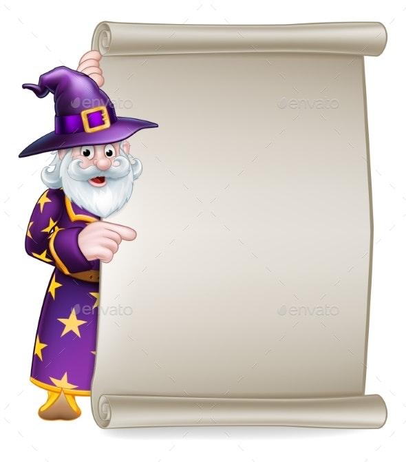 Cartoon Wizard Halloween Scroll Sign - Miscellaneous Vectors