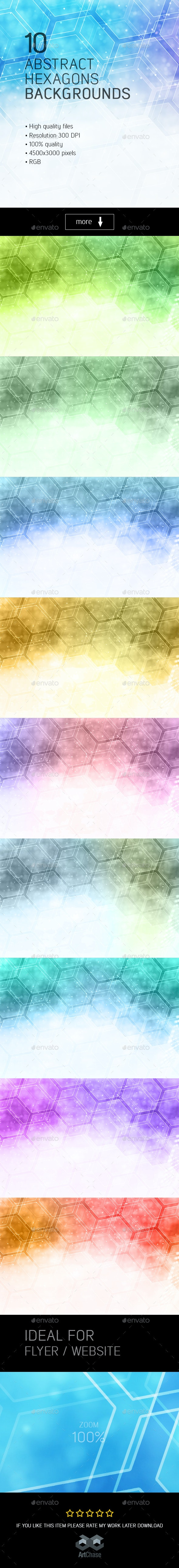 10 Abstract Hexagons Backgrounds - Abstract Backgrounds