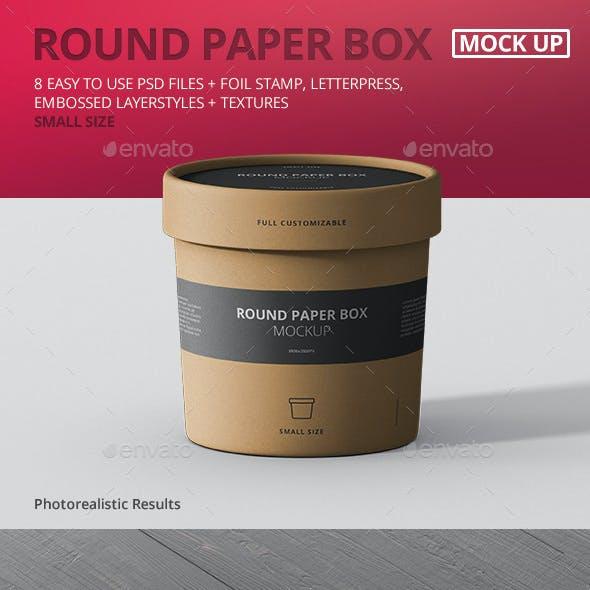 Paper Box Mockup Round - Small Size