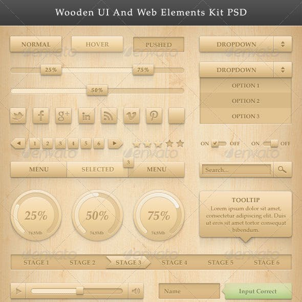Wooden UI And Web Elements Kit PSD