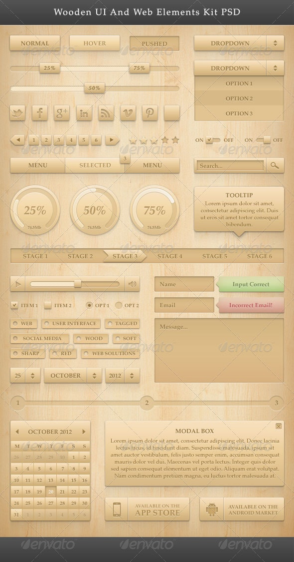 Wooden UI And Web Elements Kit PSD - User Interfaces Web Elements