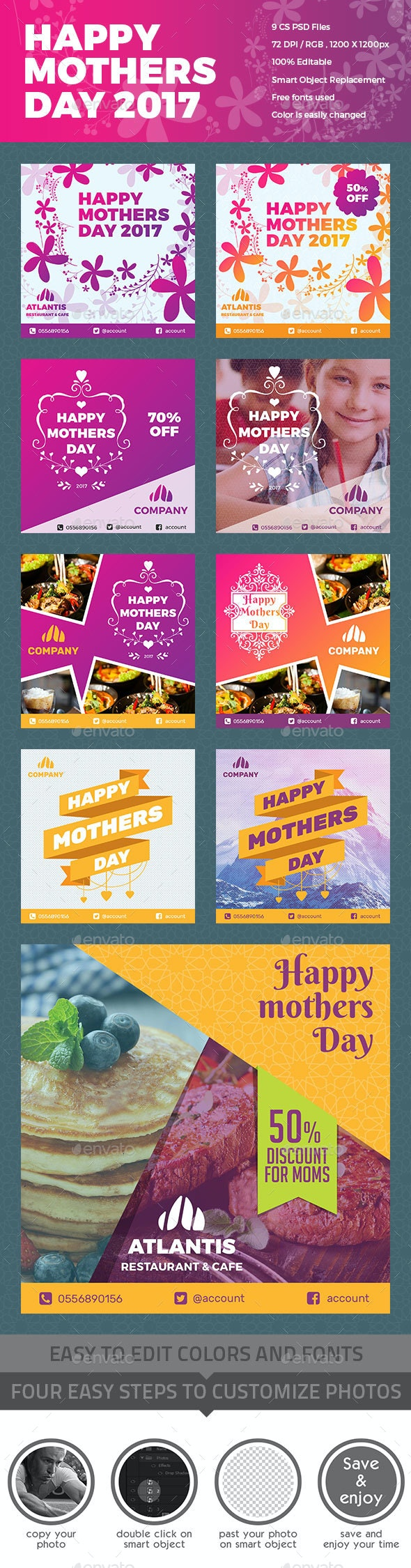 Mothers Day Instagram Promo Template - Social Media Web Elements