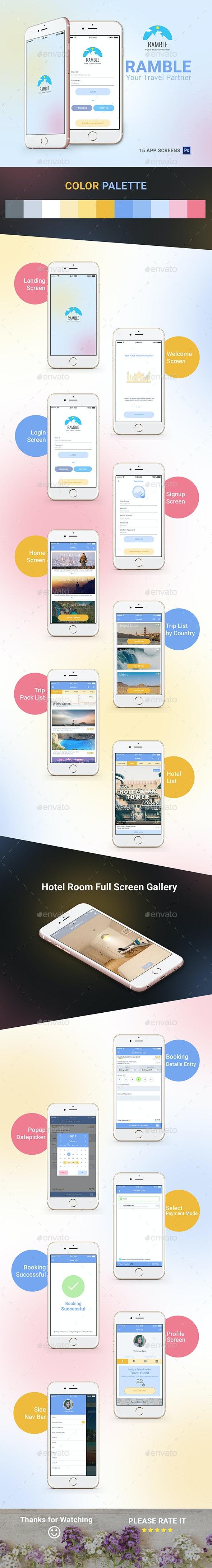 Travel Mobile App - Ramble - User Interfaces Web Elements