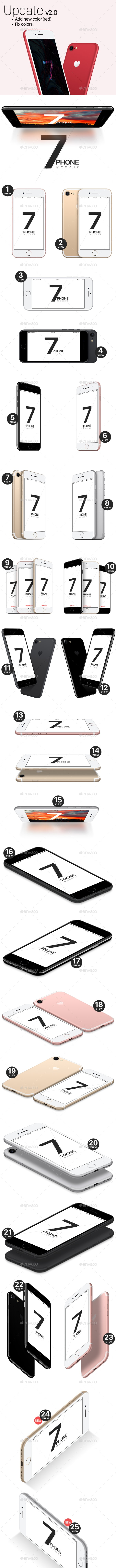 Phone 7 and 7 Plus Vector Mockups - Mobile Displays