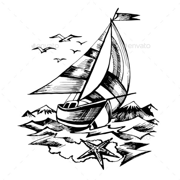 Sailing Boat Vector Sketch Isolated