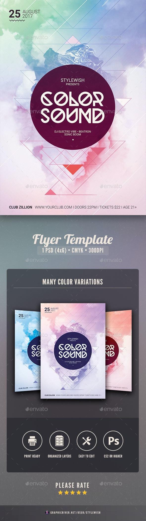 Color Sound Flyer - Clubs & Parties Events