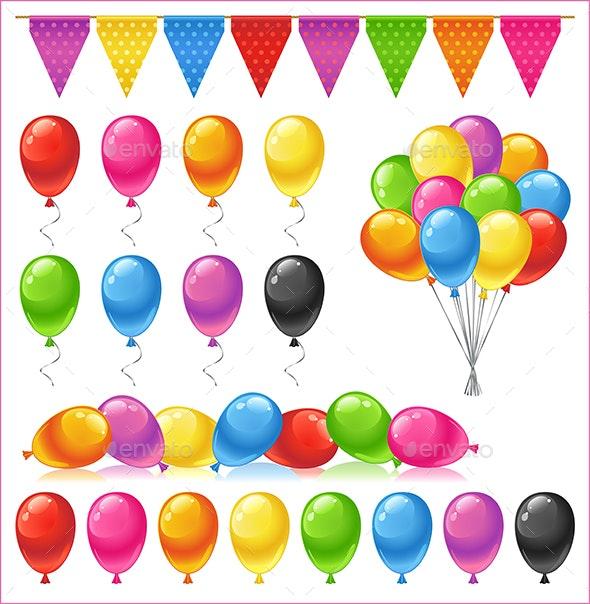 Set of Bright Glossy Colored Balloons - Birthdays Seasons/Holidays