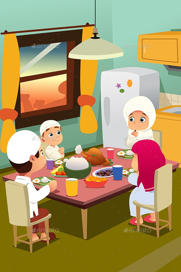 Muslim Family Eating Dinner at Home - People Characters