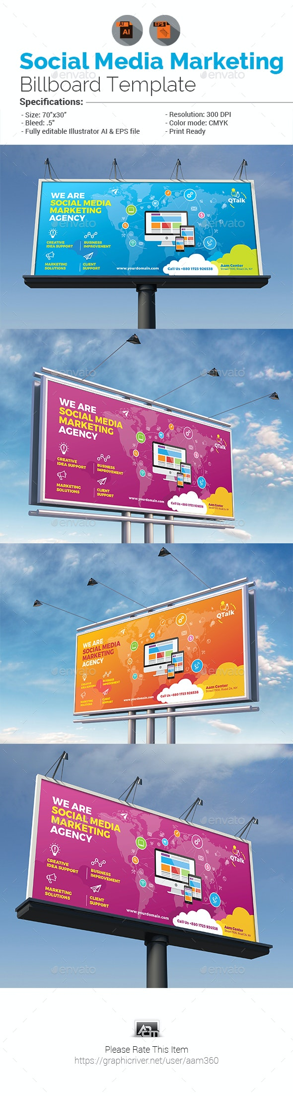 Social Media Marketing Billboard - Signage Print Templates