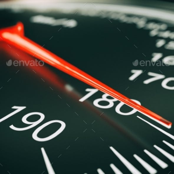 Speedometer Close Up - 3d Rendering