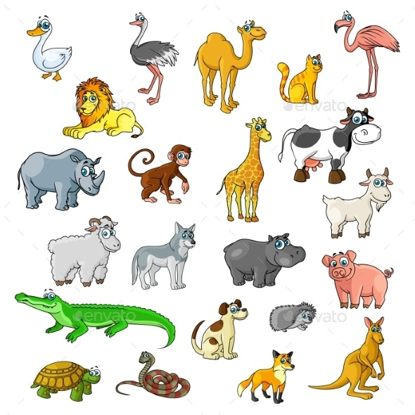 Zoo Animals with Birds and Pets Vector Cartoon Icons - Animals Characters