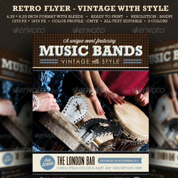 Vintage Flyer Rock Bands - Retro with Style