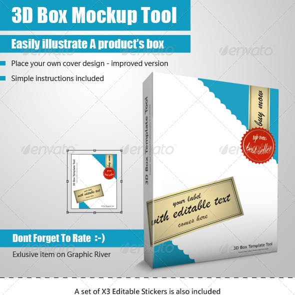 Smart 3D Package Box Template - Mock Up Tool