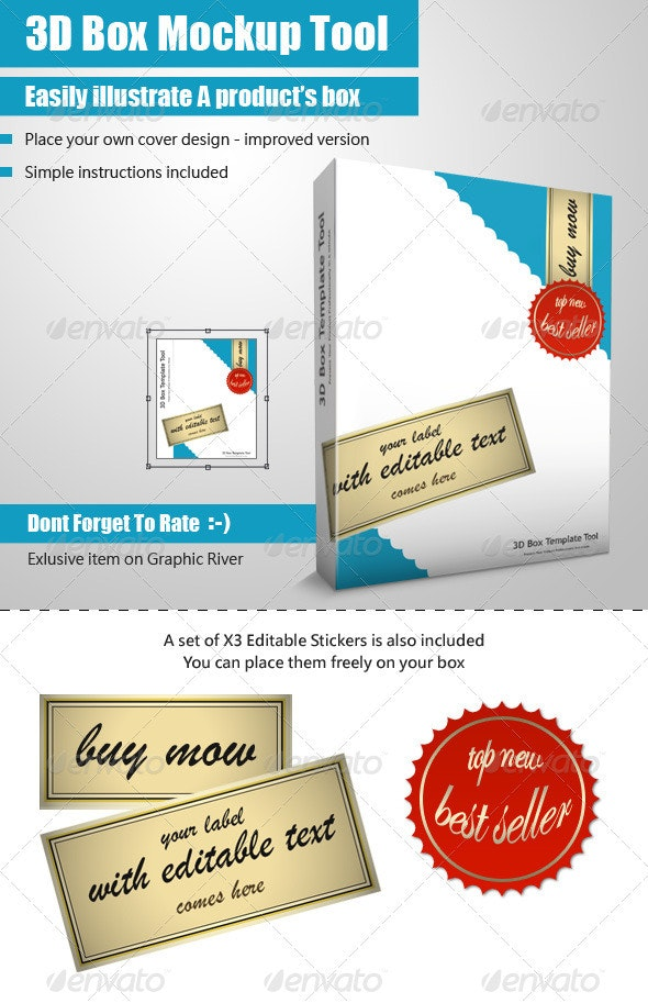 Smart 3D Package Box Template - Mock Up Tool - Miscellaneous Packaging