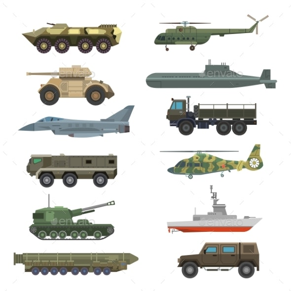 Military Technic Transport Equipment Armor Flat - Miscellaneous Vectors