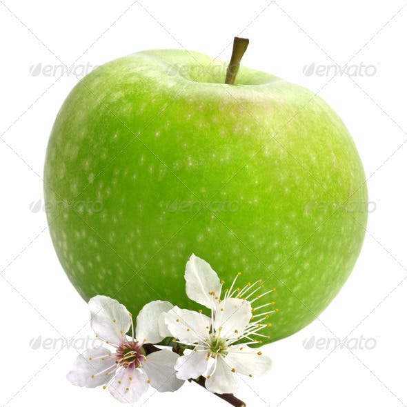 Green Apple with an Apple-Tree Flowers