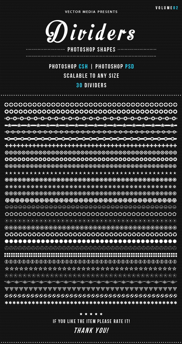 Dividers - Photoshop Shapes [Vol.02] - Miscellaneous Shapes