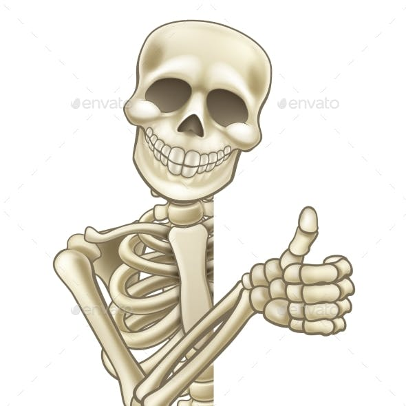 Thumbs Up Cartoon Halloween Sign Skeleton