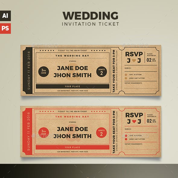 Wedding Invitation Movie Ticket
