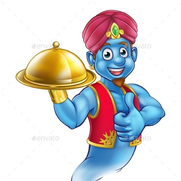 Cartoon Genie Serving Food