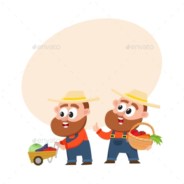 Farmers in Overalls Harvesting Vegetables - People Characters
