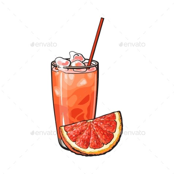 Grapefruit Quarter and Glass of Freshly Squeezed