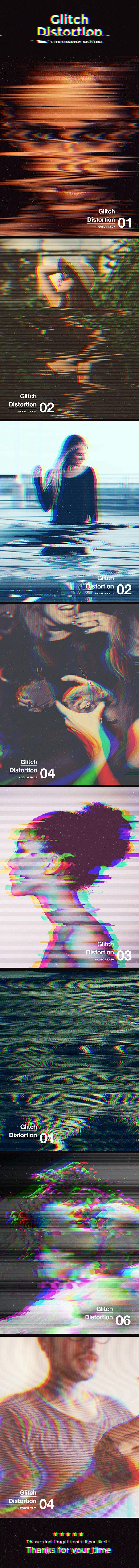 Glitch Distortion Photoshop Action - Photo Effects Actions