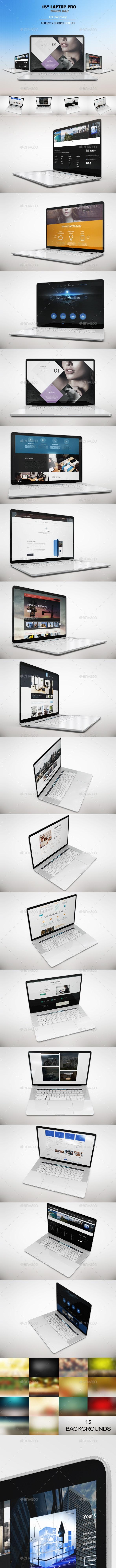 "15"" Laptop Pro Touch Bar Mockup - Laptop Displays"