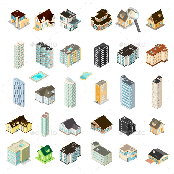 Isometric Houses and Apartments Icon Set - Buildings Objects