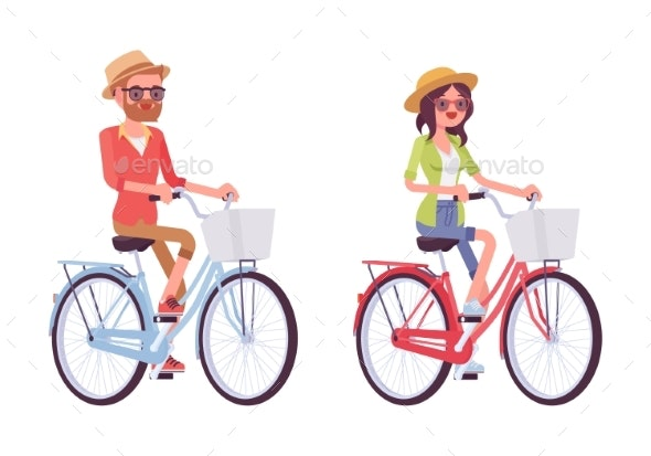 Young Man and Woman Riding Bikes - Sports/Activity Conceptual