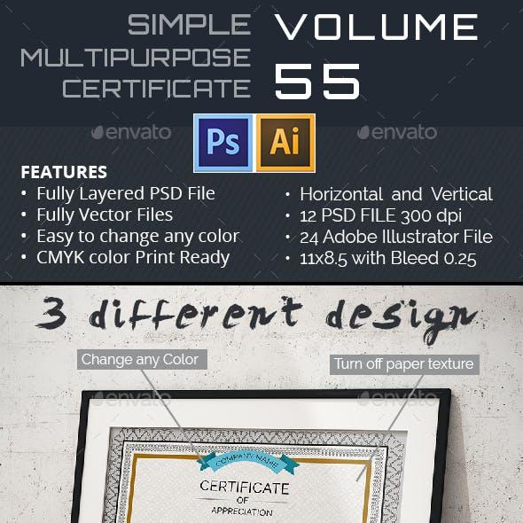 3 Multipurpose Certificate Vol-55