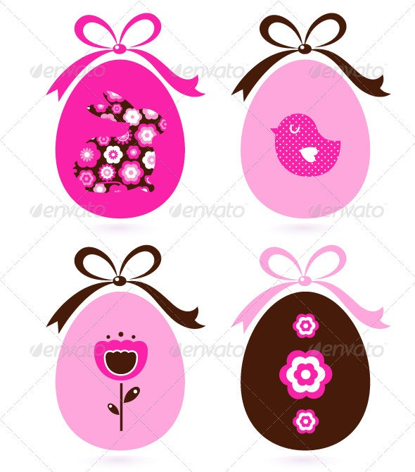 Retro easter eggs set isolated on white - pink - Decorative Symbols Decorative