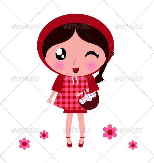 Little red riding hood isolated on white - People Characters
