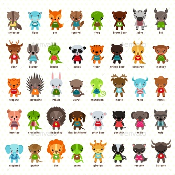 Set of Isolated Cartoon Smiling Baby Animals - Animals Characters