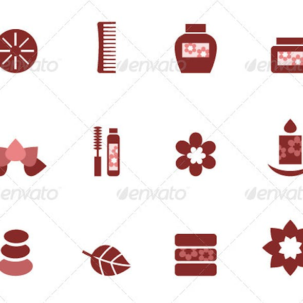 Spa and wellness icons set isolated on white