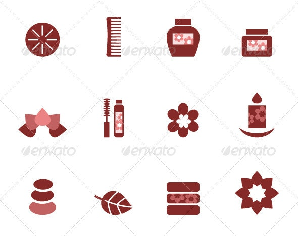 Spa and wellness icons set isolated on white - Health/Medicine Conceptual