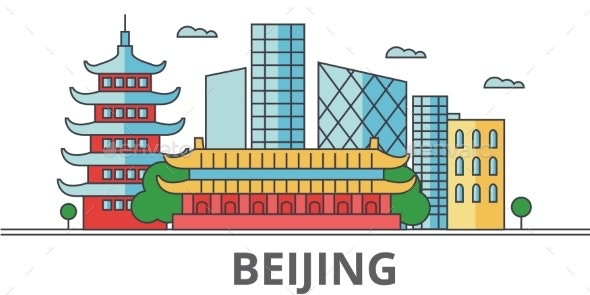 Beijing City Skyline. Buildings, Streets - Buildings Objects