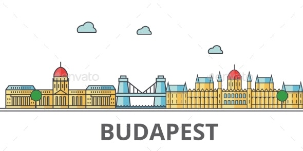 Budapest City Skyline. Buildings, Streets - Buildings Objects