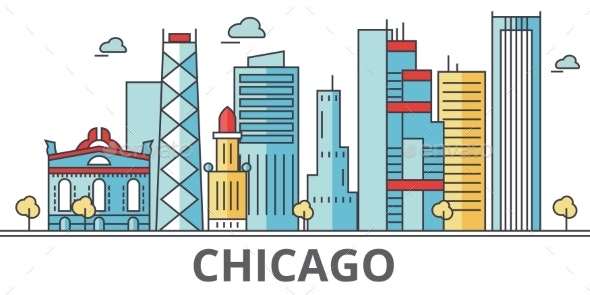 Chicago City Skyline. Buildings, Streets - Buildings Objects