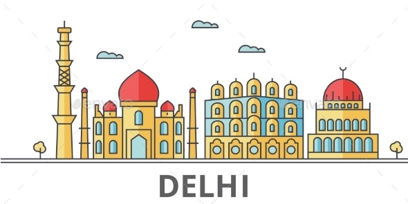 Delhi City Skyline. Buildings, Streets, Silhouette - Buildings Objects