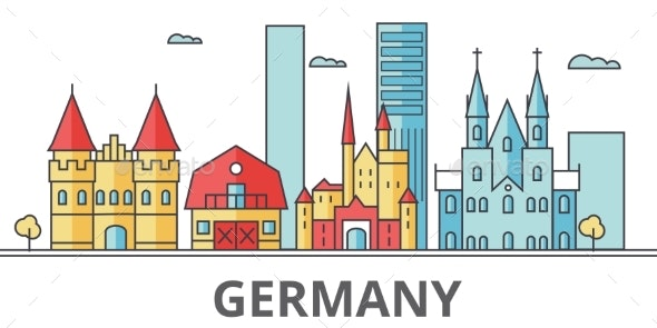 Germany City Skyline. Buildings, Streets - Buildings Objects
