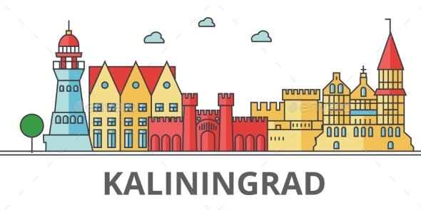 Kaliningrad City Skyline. Buildings, Streets - Buildings Objects